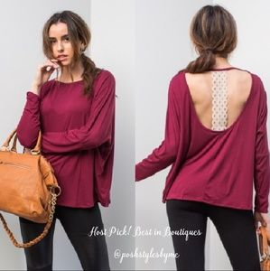 April Spirit Tops - Cranberry Crochet Detail Top